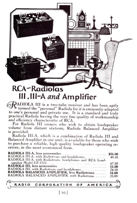 Catalogo Radiola III A – años 20