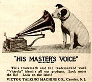 logo His Master's Voice en 1921